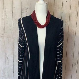 Apt. 9 cardigan sweater black white stripes NWOT